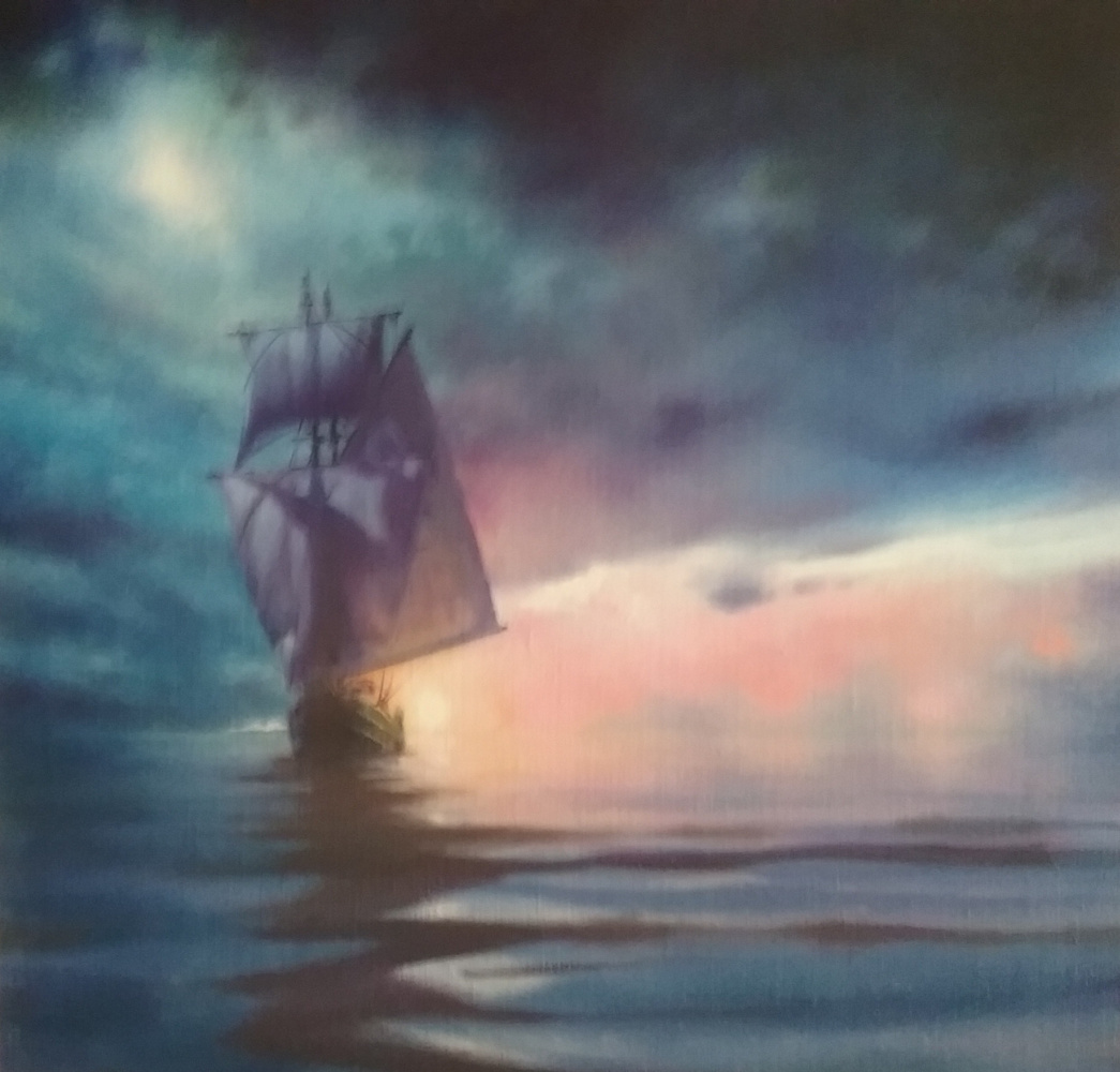 Igor Evgenievich Sergeev. Sunset in the Gulf of Aden.