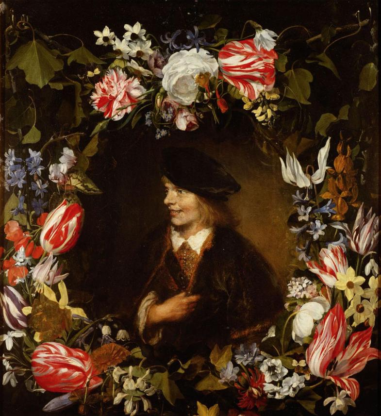 Ян Ливенс. Портрет молодого человека в цветочном венке (соавторство с Яном ван Хекком)