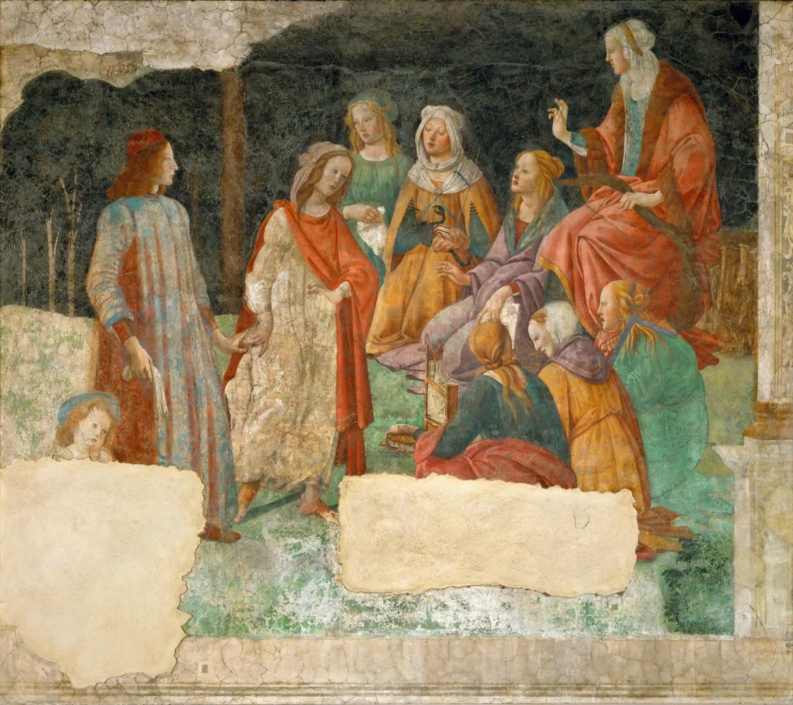 Сандро Боттичелли. Лоренцо Торнабуони перед аллегорическими фигурами семи свободных искусств