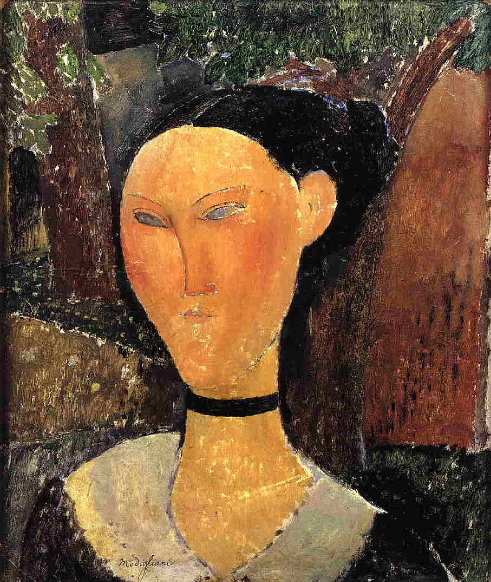 Amedeo Modigliani. Woman with velvet ribbon (Portrait of Beatrice Hastings)