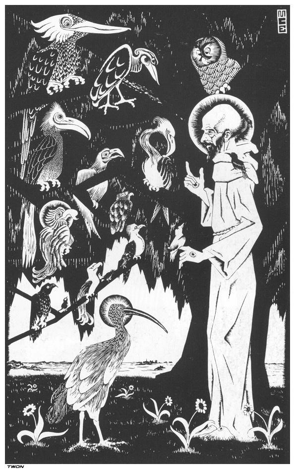 Мауриц Корнелис Эшер. Святой Франциск проповедовал птицам