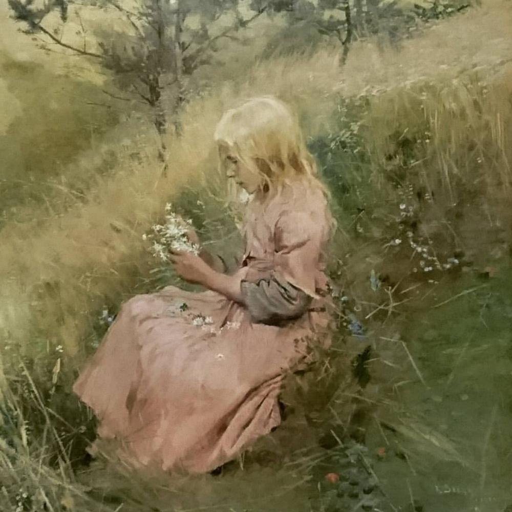 Sven Richard Berg. Girl picking flowers.