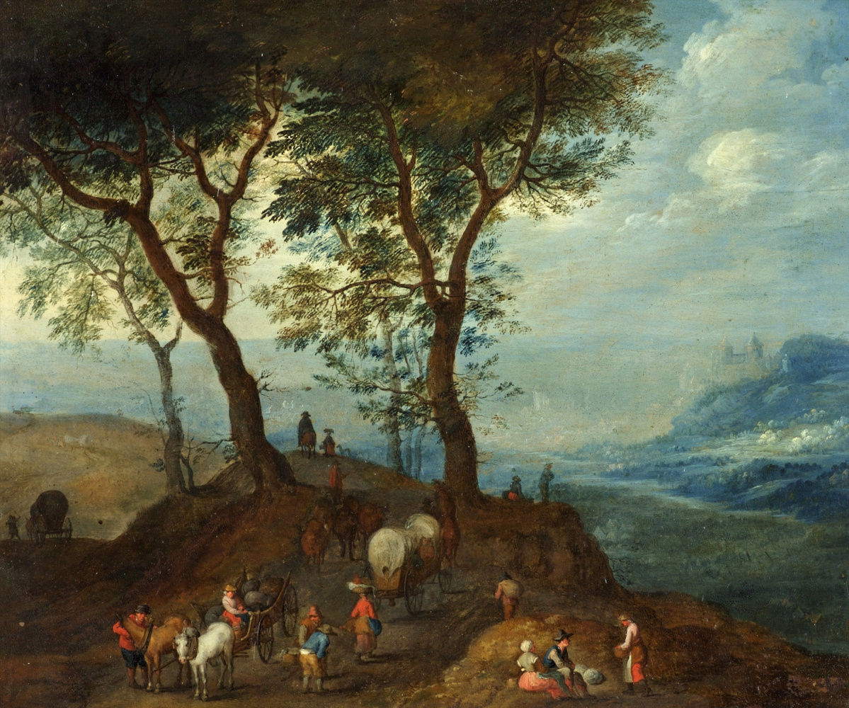 Peter Brueghel the Younger. Landscape with peasants and carriages