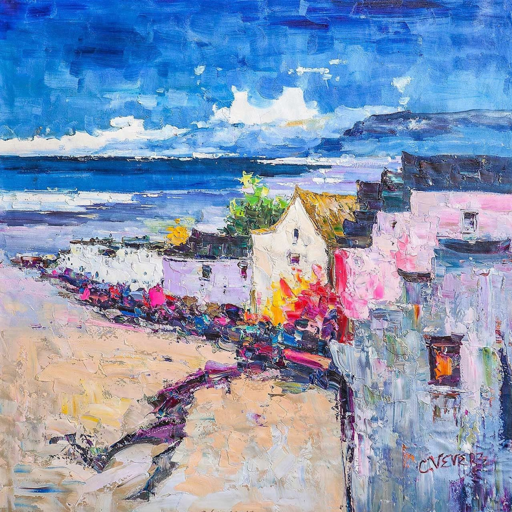 (no name). At the edge of the sun and flowers. Houses by the sea