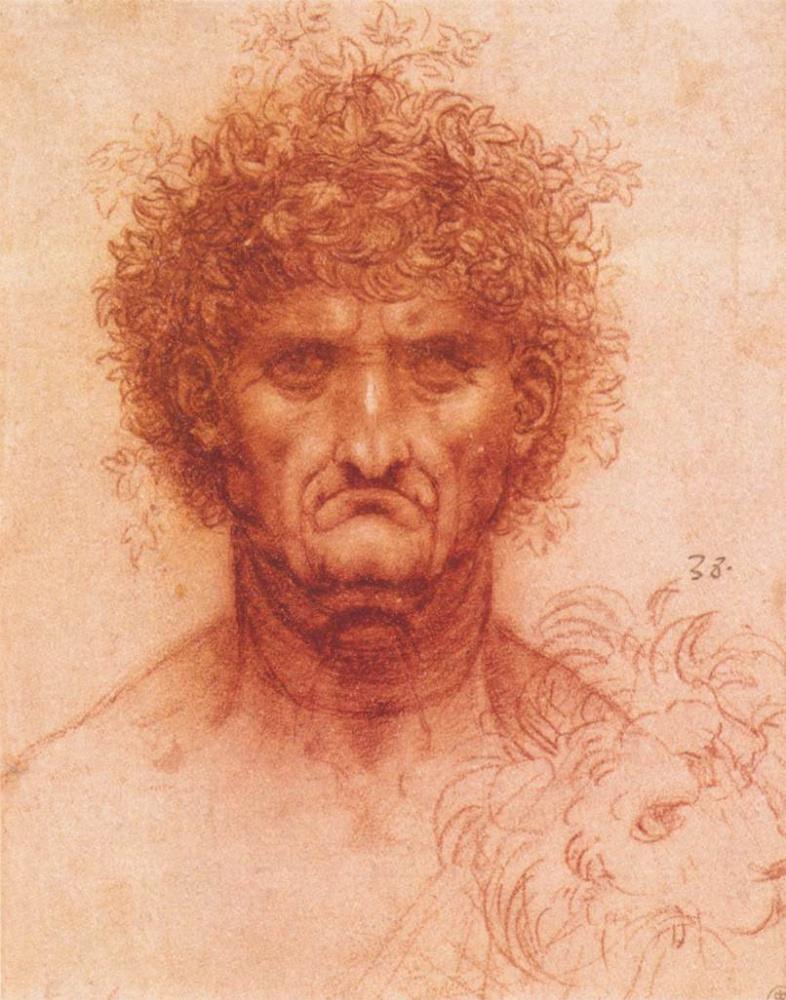 Леонардо да Винчи. Старик в венке из плюща и лев