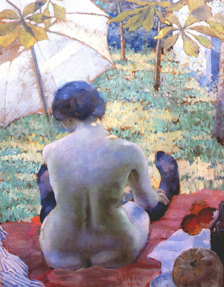 Beadle. Nude under an umbrella from the back