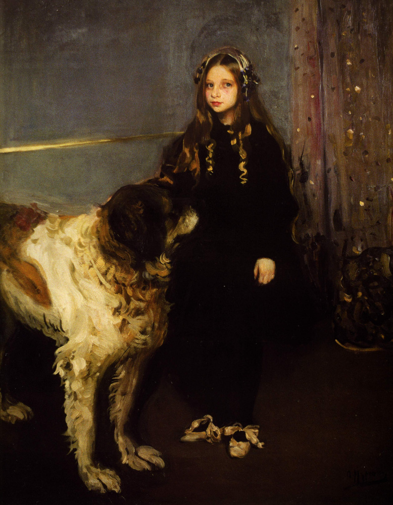 Александр Александрович Мурашко. Девочка с собакой. Портрет Т. Язевой