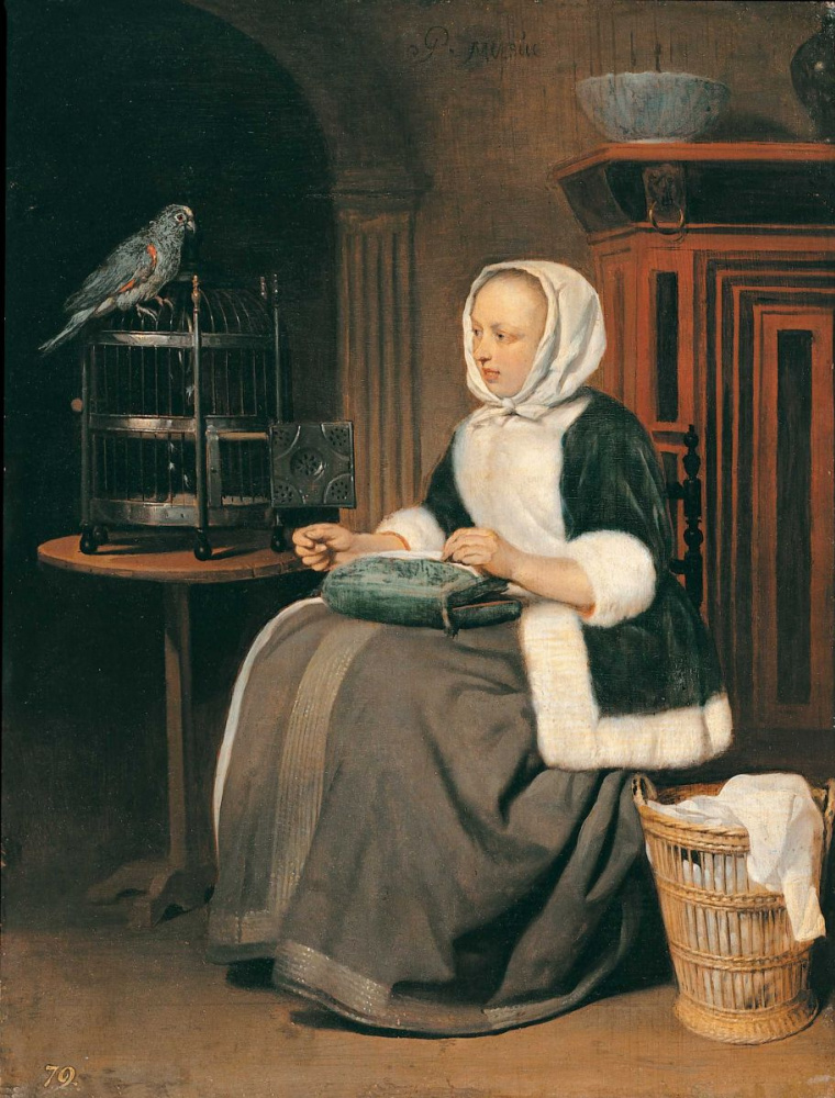 Gabrielle Metsu. Girl with sewing and parrot