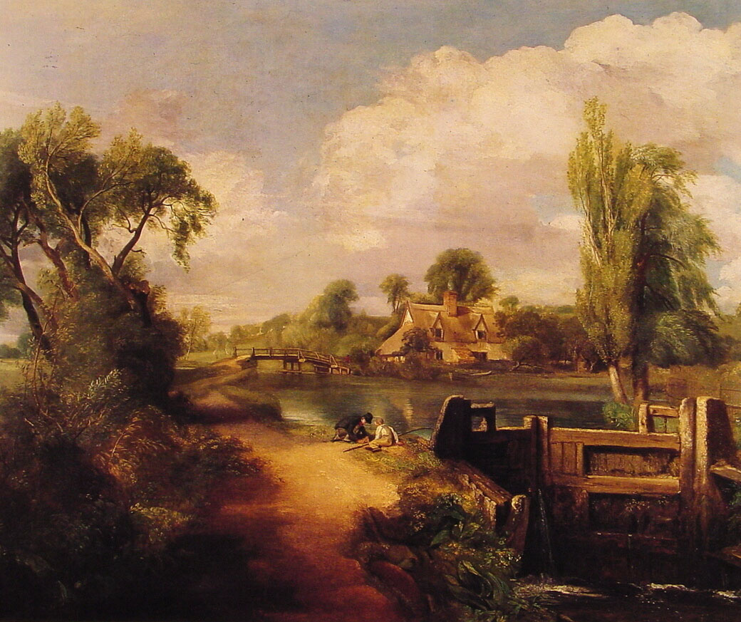 John Constable. Landscape: boys fishing