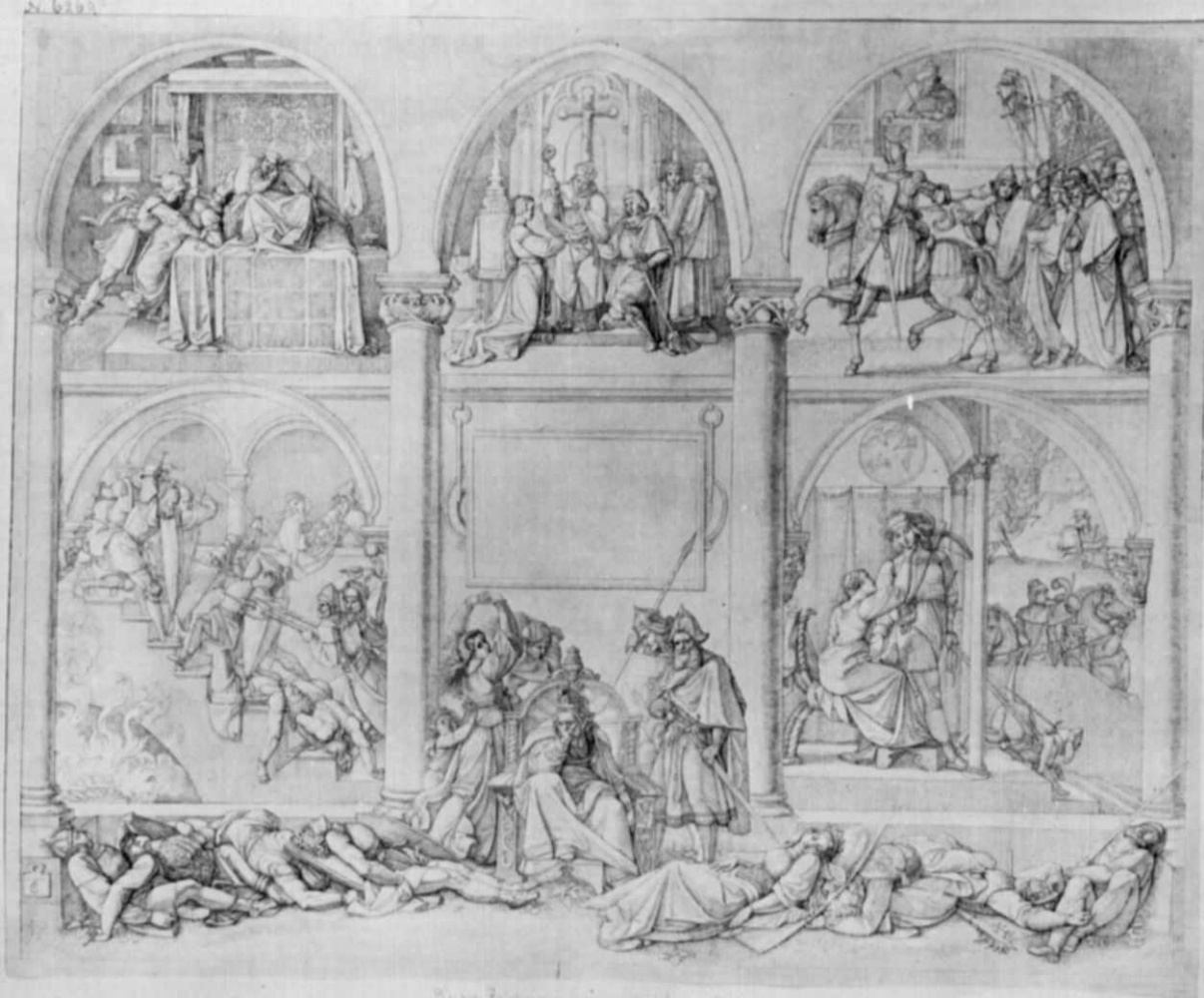 """Peter von Cornelius. A sketch of the title page to the """"Nibelungen"""""""