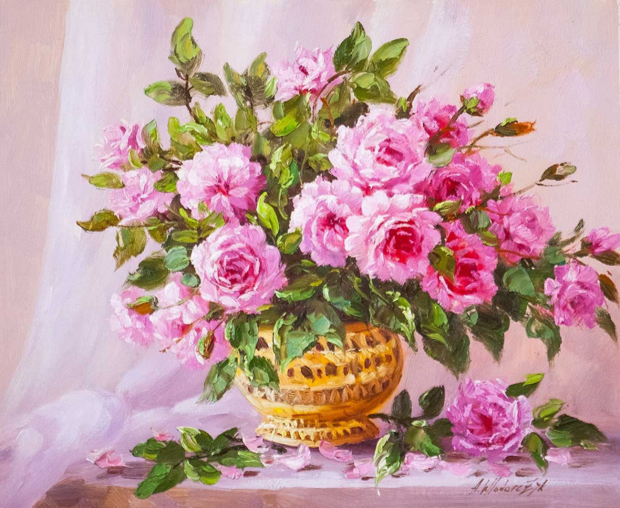 "Andrzej Vlodarczyk. Still life with oil ""Bouquet of garden roses in a golden vase"""