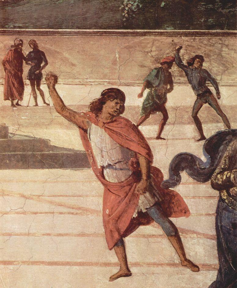 Пьетро Перуджино. Фрески Сикстинской капеллы, сцена: Христос передает ключи от рая апостолу Петру, деталь