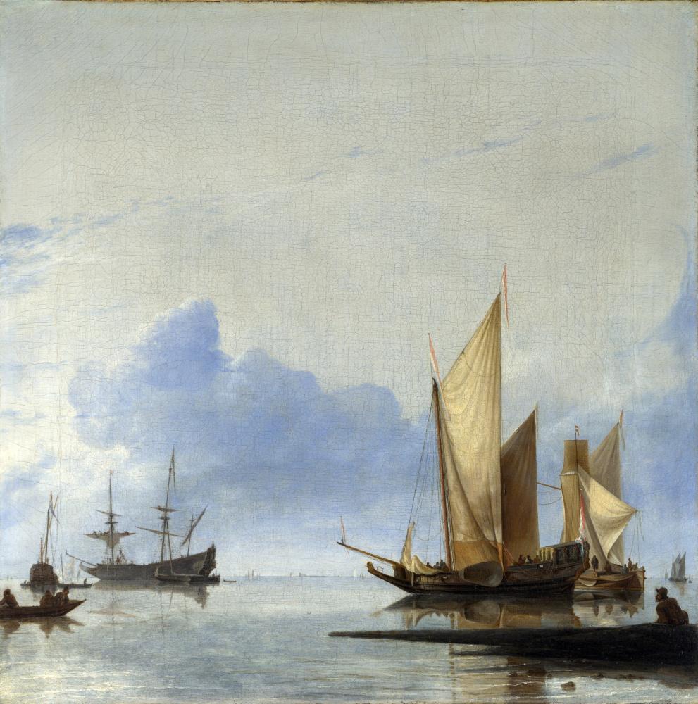 Даббелс Хендрик Якобз. Голландские яхты и другие суда штиль вблизи берега