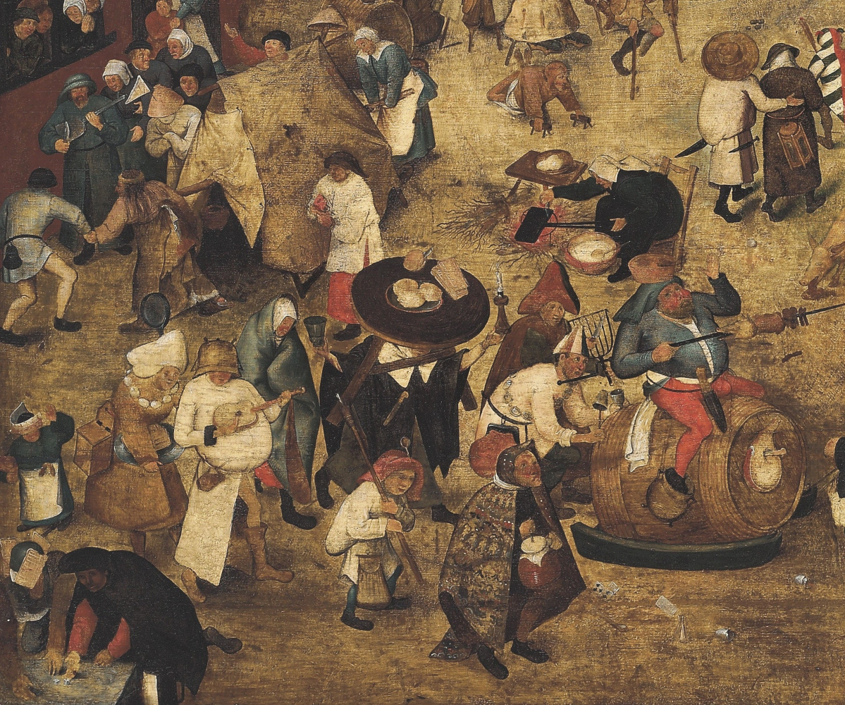 Peter Brueghel the Younger. Battle of carnival and Lent (canvas). Fragment
