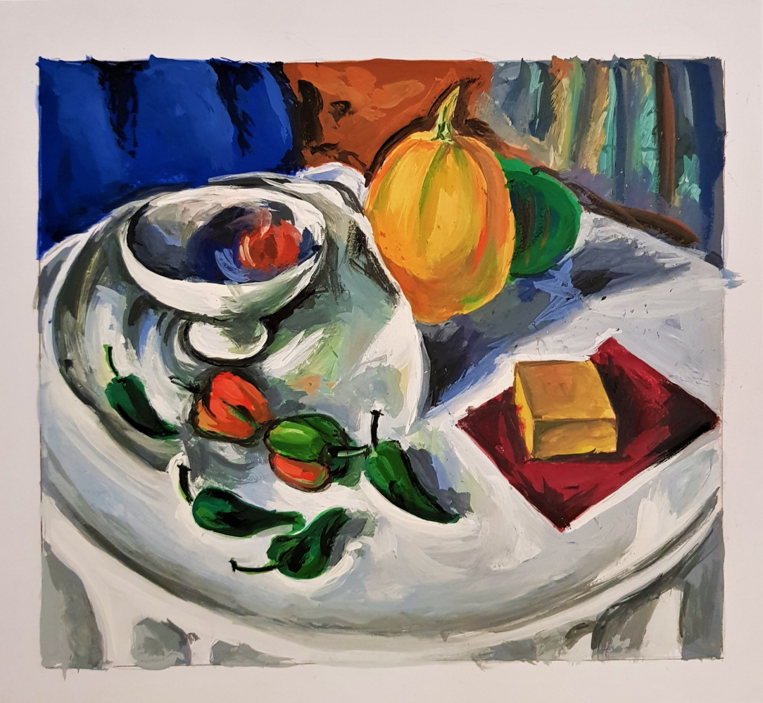 "Evgeniya Kaposhka. Copy of Alexander Kuprin's painting ""Still Life with Pumpkin"""