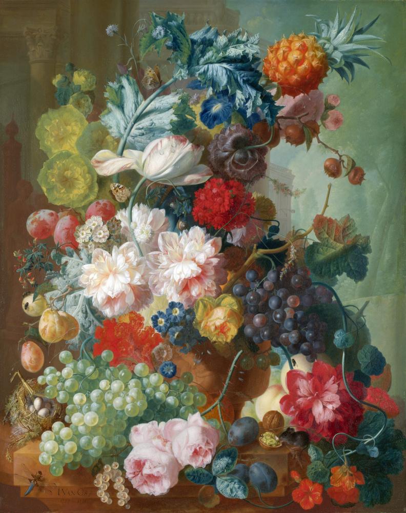 Ян ван Ос. Фрукты и цветы в терракотовой вазе