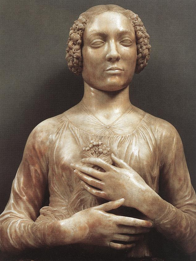 Andrea del Verrocchio. Lady with a bouquet of flowers