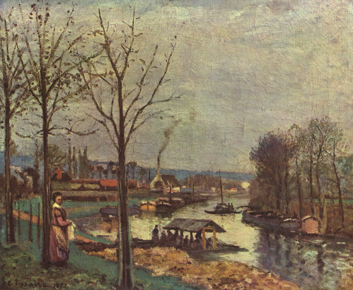 Camille Pissarro. Laundry on the river. Bougival