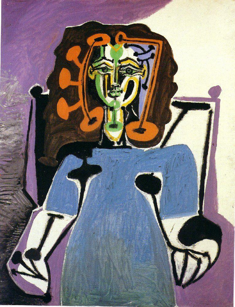 Pablo Picasso. Françoise Gilot in a blue dress