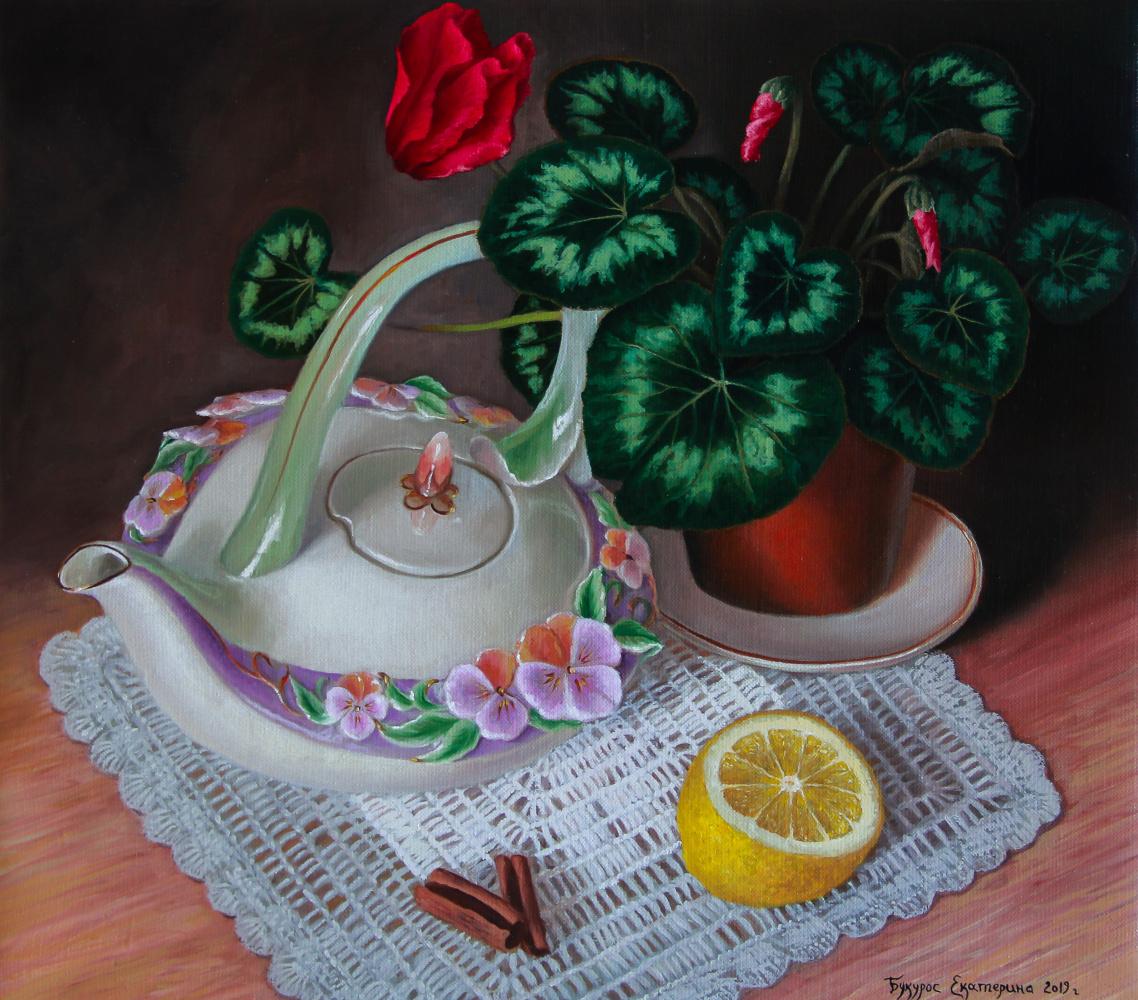 Katerina Bukuros. Натюрморт с фарфоровым чайничком