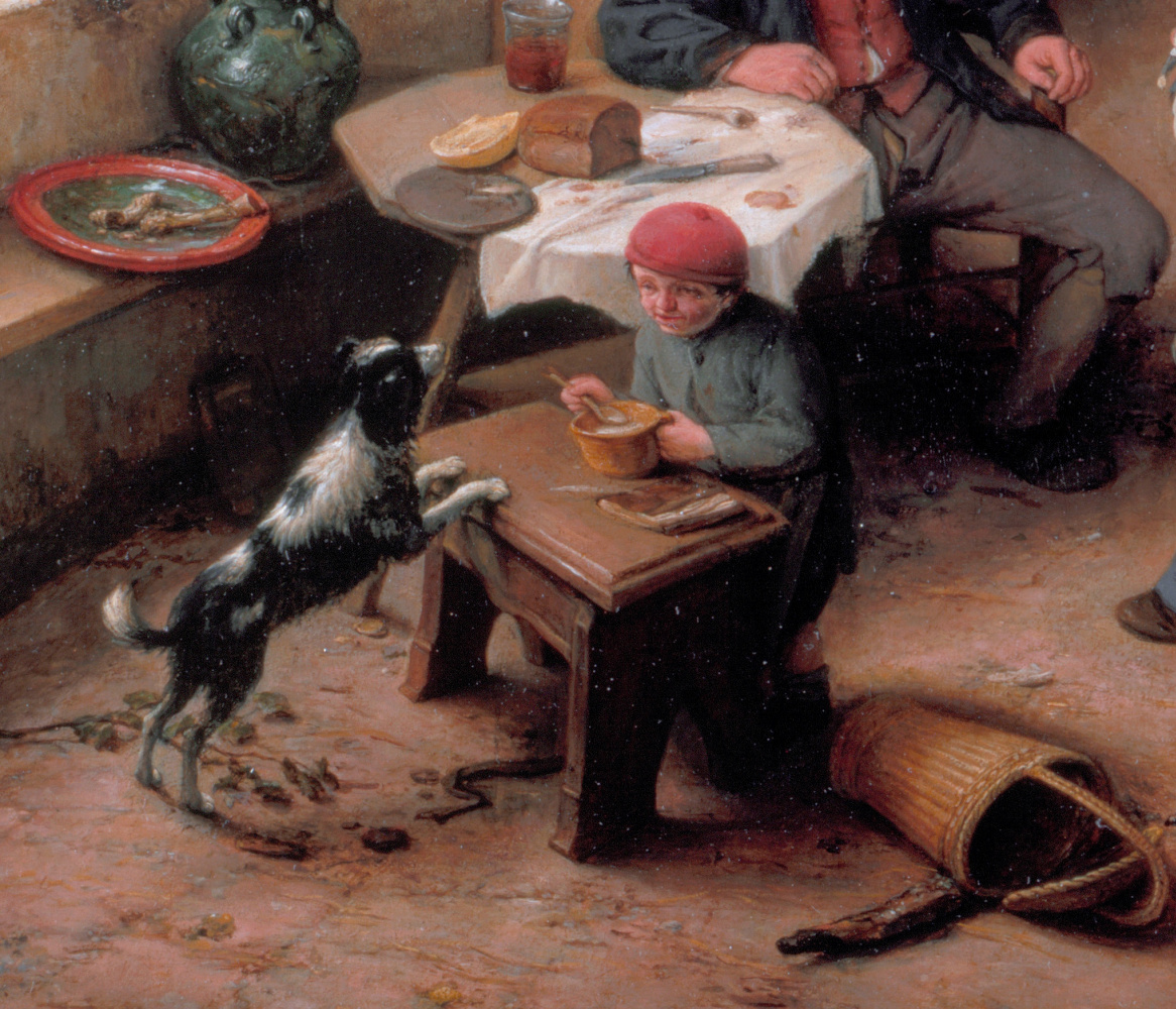Adrian Jans van Ostade. Interior of a peasant house. Fragment. Boy with a dog