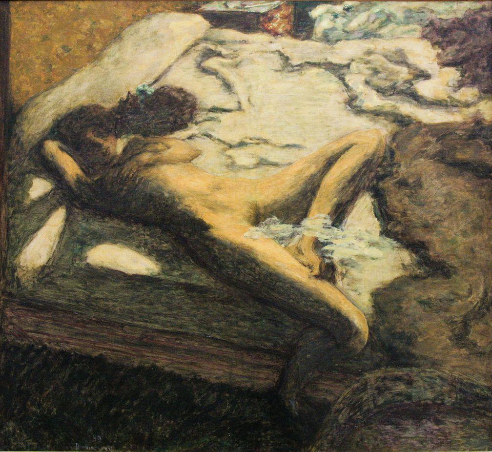 Pierre Bonnard. Woman slumbering on the bed