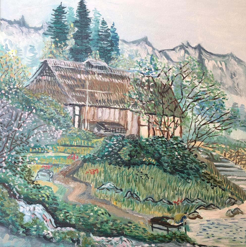 Sergey Vladimirovich Sebini. Landscape with houses. On the topic of Keukei Kojima.