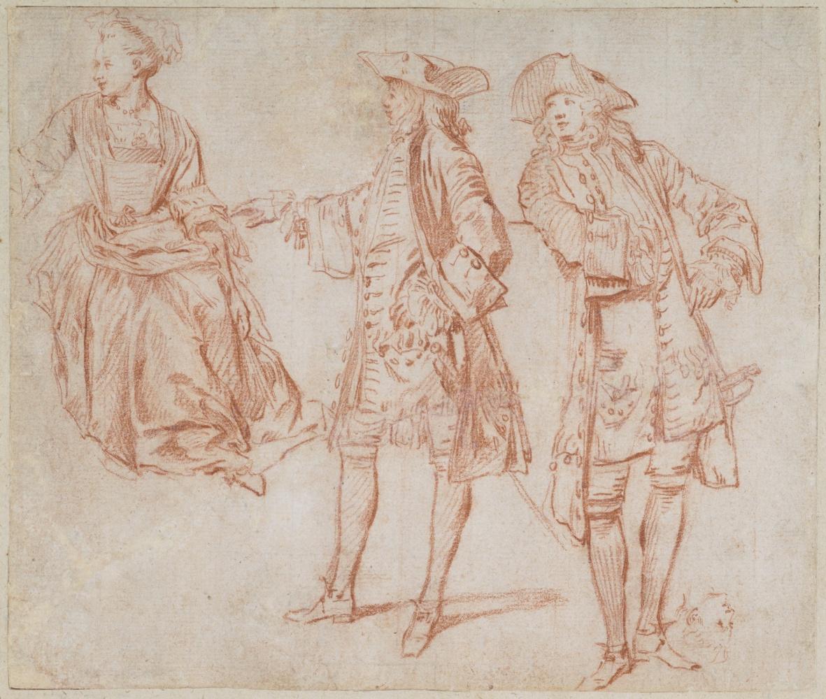 Антуан Ватто. Эскиз двух стоящий джентльменов и леди, сидящей прямо