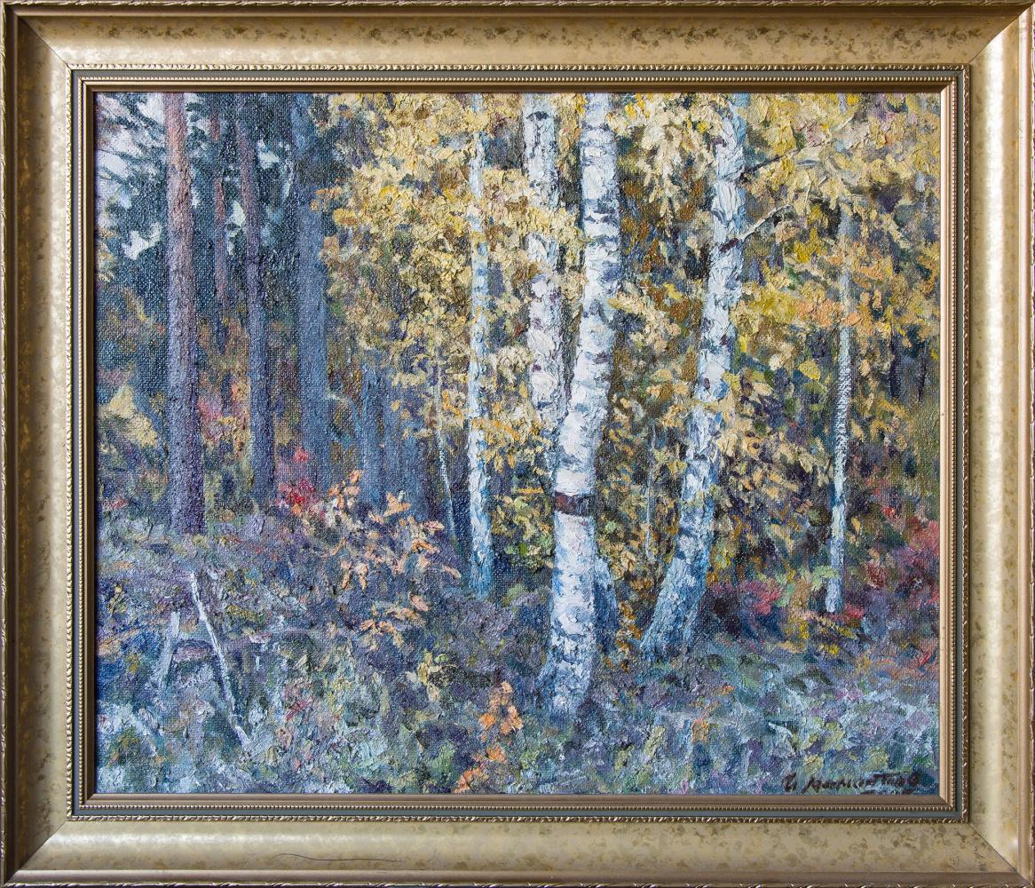 Иван Моисеевич Мамонтов. Birch trees in a pine forest. 2005 fiberboard, oil 50 x 60 cm.