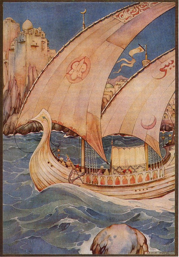 """Anton Pieck. """"The book of the thousand and one nights"""". Amazing story Sweet friend and Ali-Nur"""