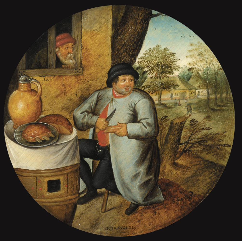 """Peter Brueghel the Younger. The farmer with a knife. Illustration of the saying, """"Man, cutting meat and forest one knife"""""""
