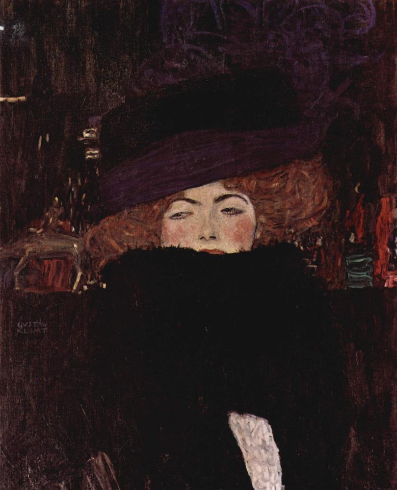 Густав Климт. Дама в шляпе и боа из перьев