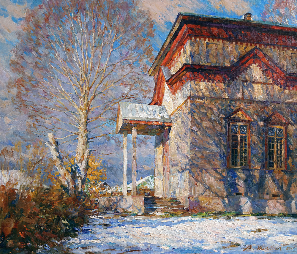 Alexander Shevelyov. Village Church. Oil on canvas 54.3 x 63.5 cm. 2009