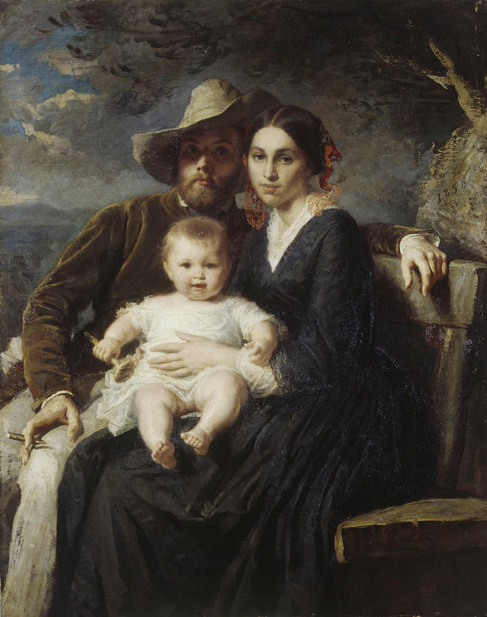 Alfred van Meyden. Self-portrait with wife and son