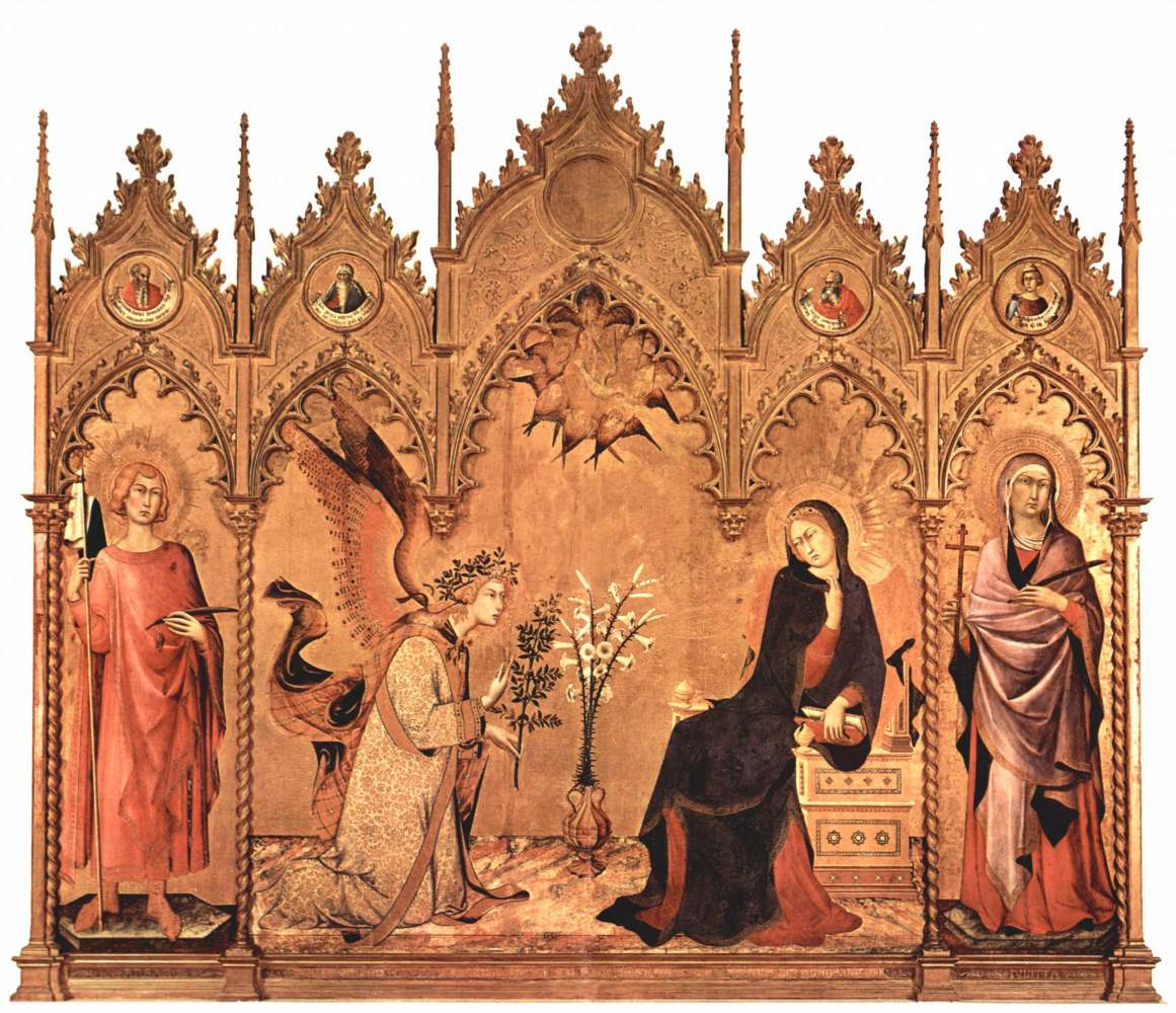 Simone Martini. Triptych of the Annunciation of the Central part. The Virgin Mary. Left: St. Ansan Siena.