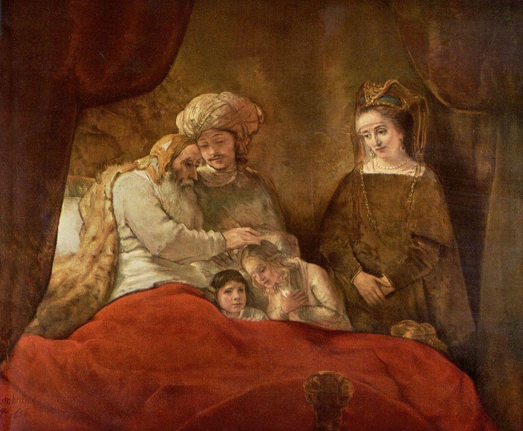 Рембрандт Ван Рейн. Иаков, благословляющий сыновей Иосифа