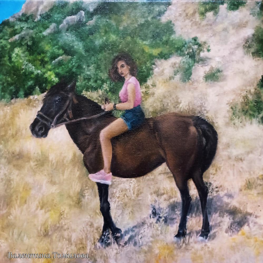 Valentina Tomilova. Horse ride