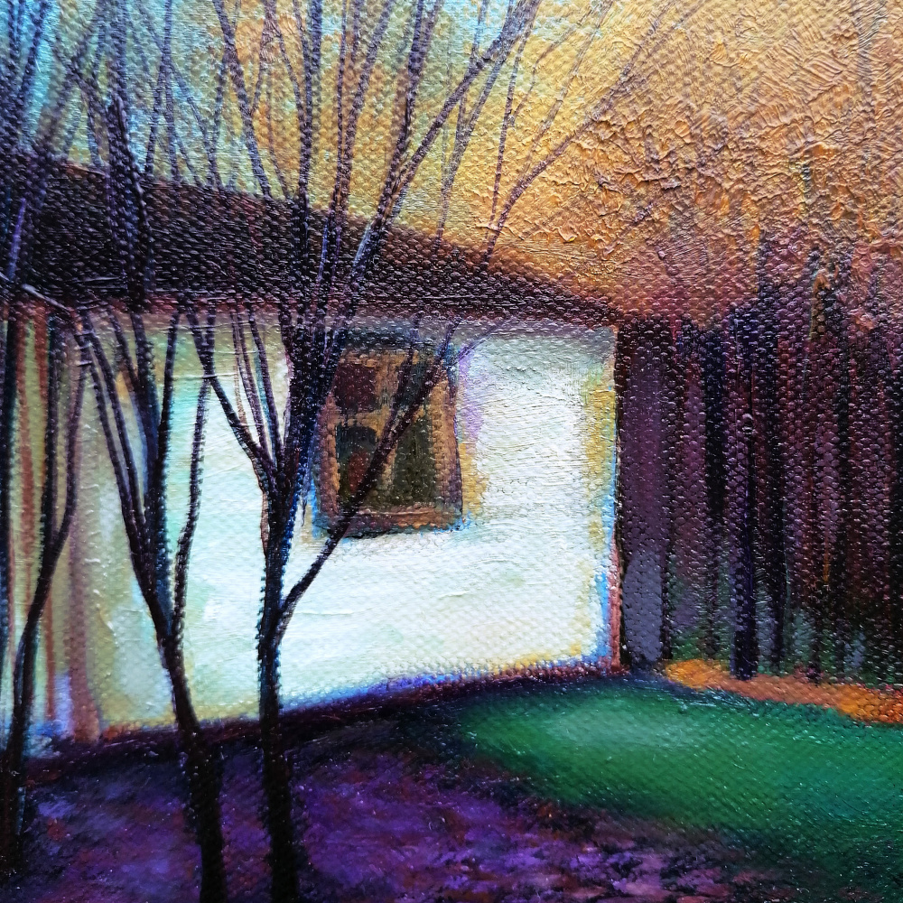 Summer house in the autumn forest