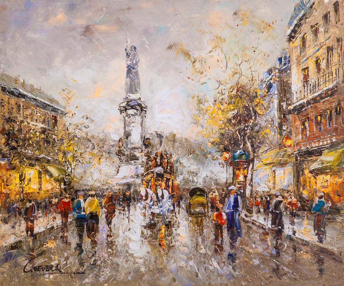 """(no name). Landscape of Paris by Antoine Blanchard """"Place de la Republic"""""""