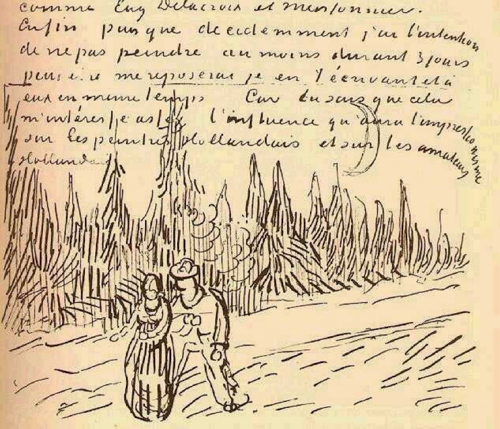 Vincent van Gogh. Alley with cypress trees and a pair of. The figure in the letter