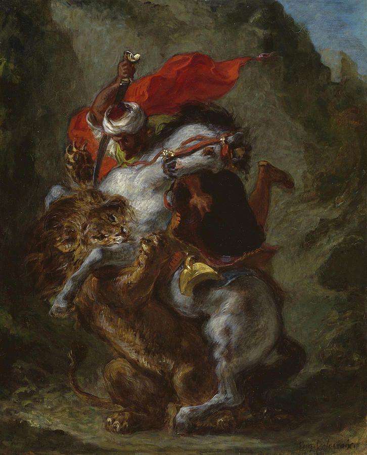 Eugene Delacroix. Arab-lion