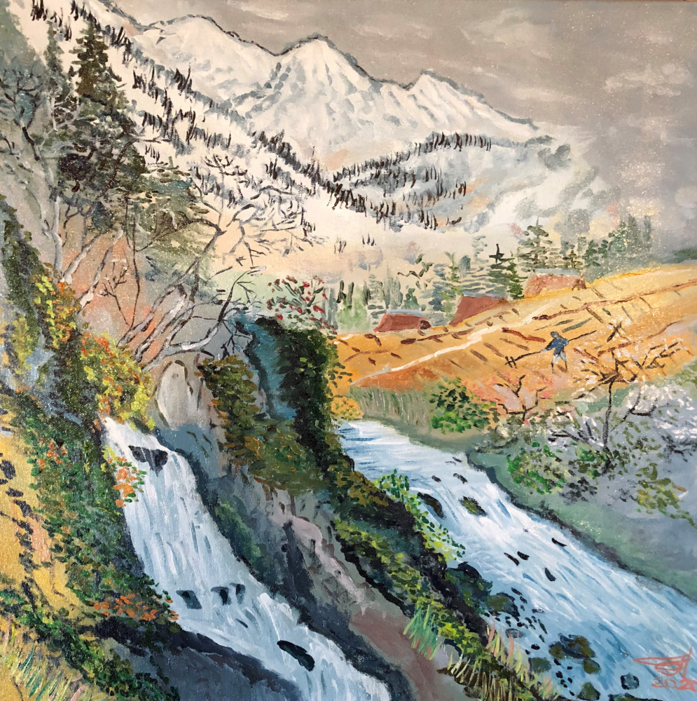 Sergey Vladimirovich Sebini. Горный пейзаж с рекой на тему Кеукей Кодзима