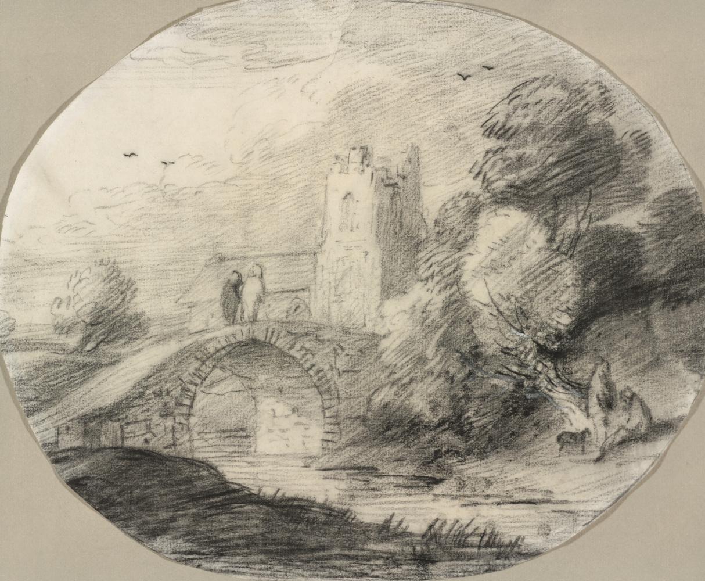 Томас Гейнсборо. Пейзаж с рекой и мостом
