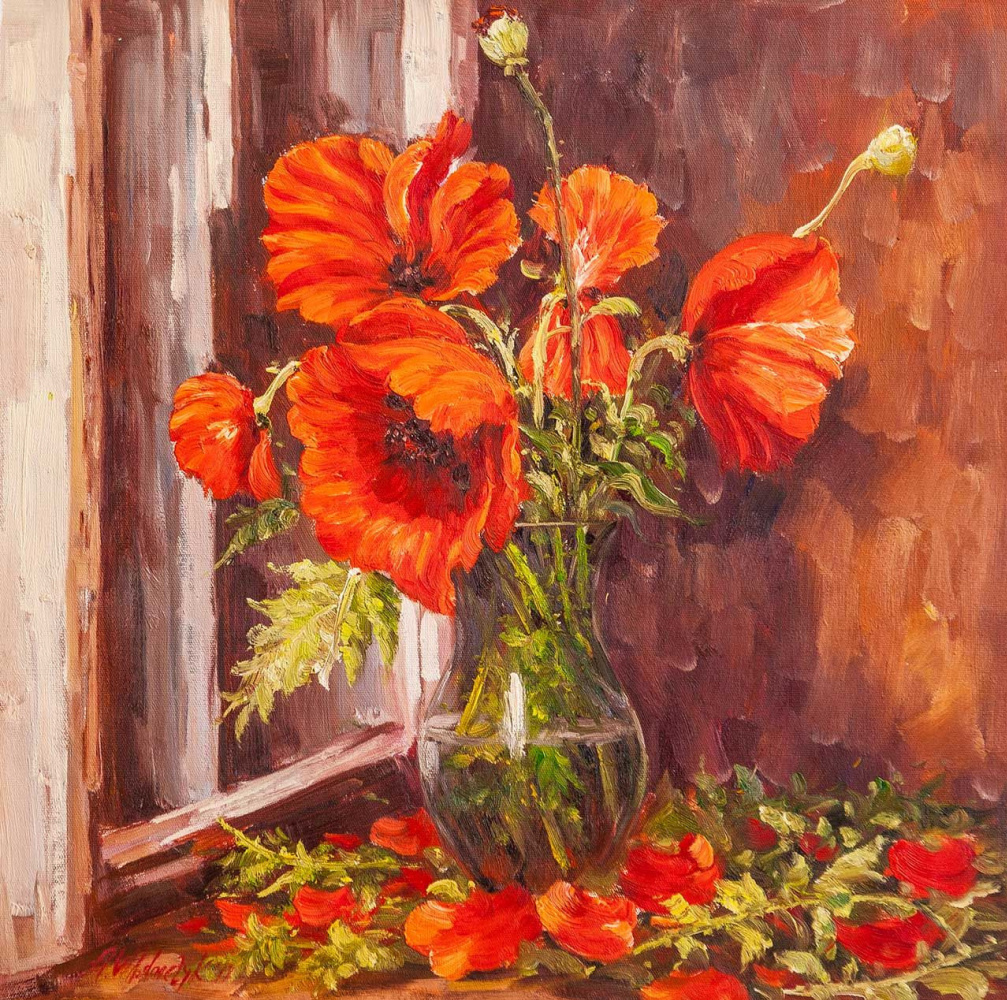 Andrzej Vlodarczyk. Poppies on the window