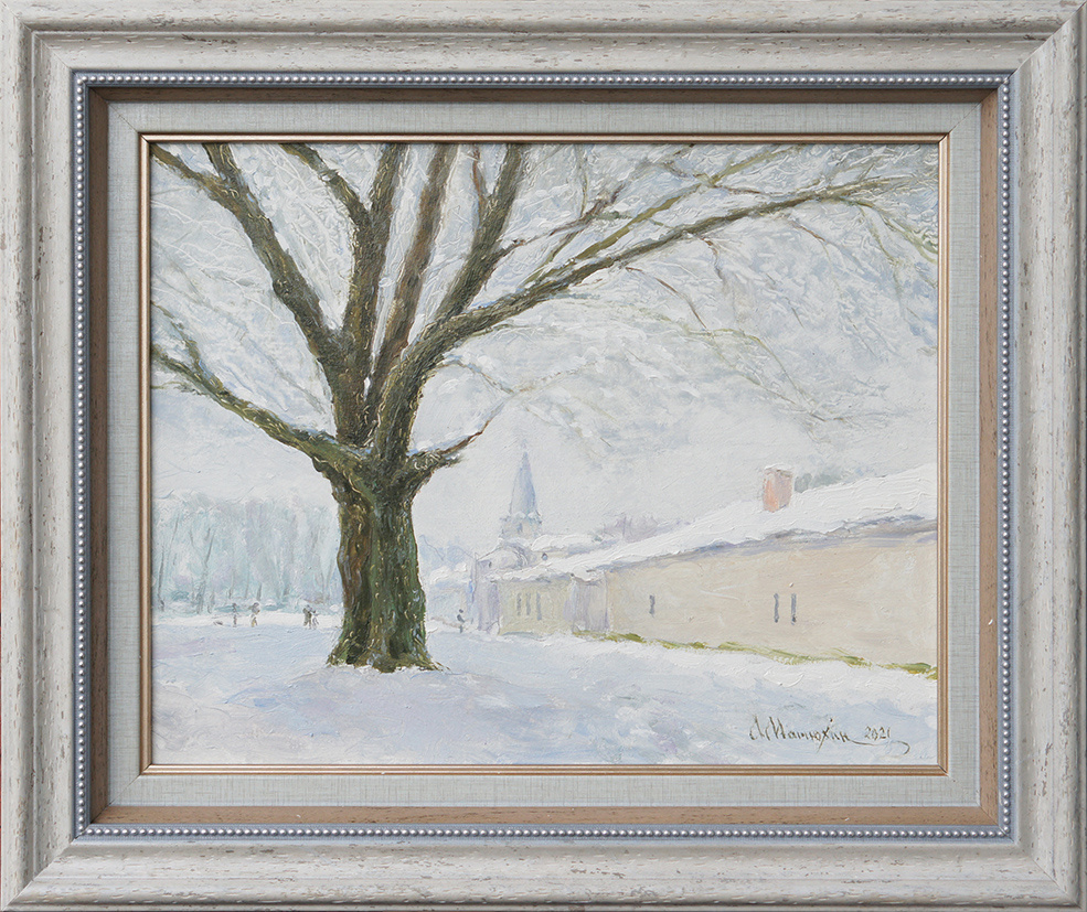 Alexander Matyukhin. 2021. Two branched trees (hardboard, oil, 21x25.5 cm)