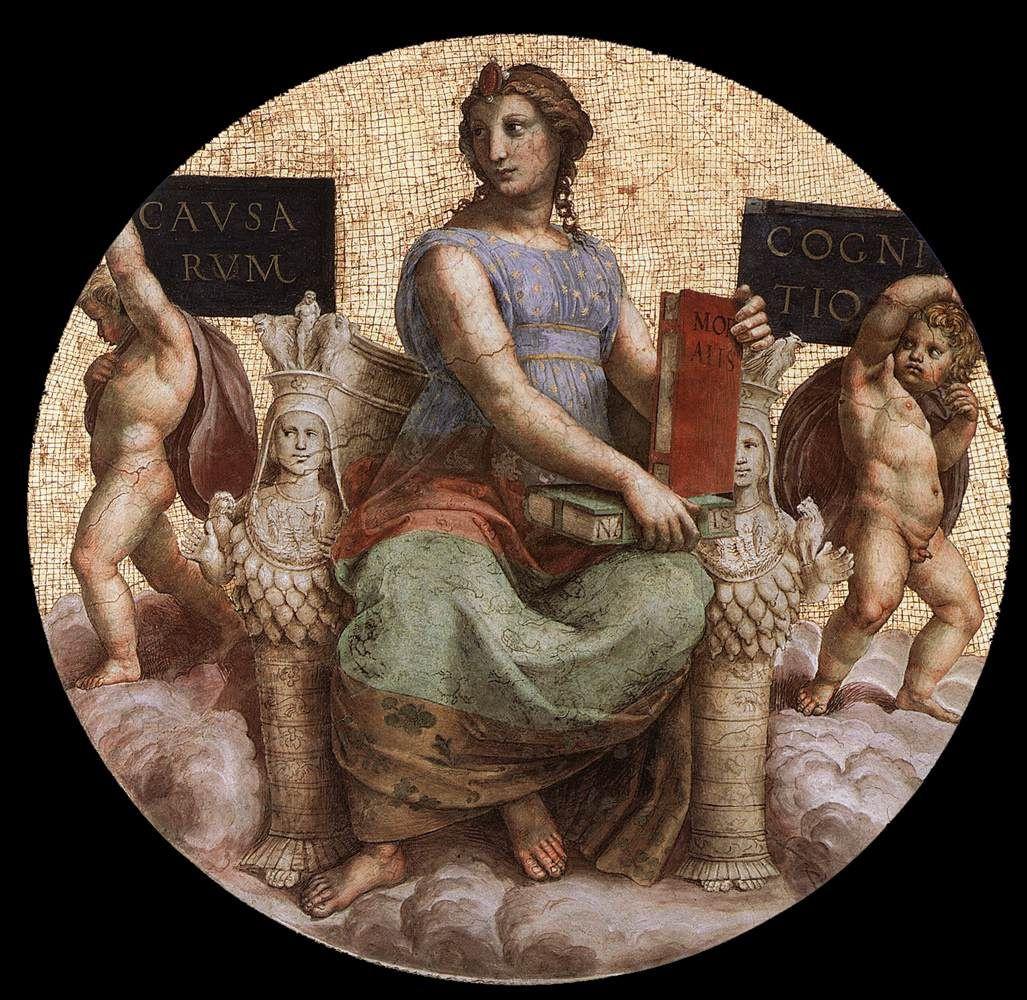 Рафаэль Санти. Станца делла Сеньятура. Роспись потолка. Фрагмент: Философия