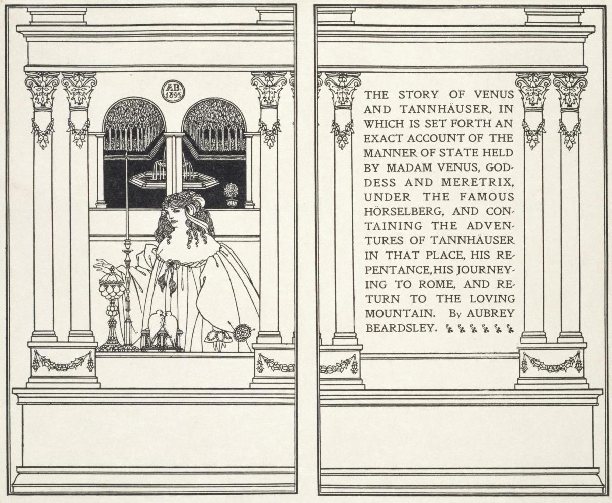 Обри Бердслей. Титульная страница «История Венеры и Тангейзера»