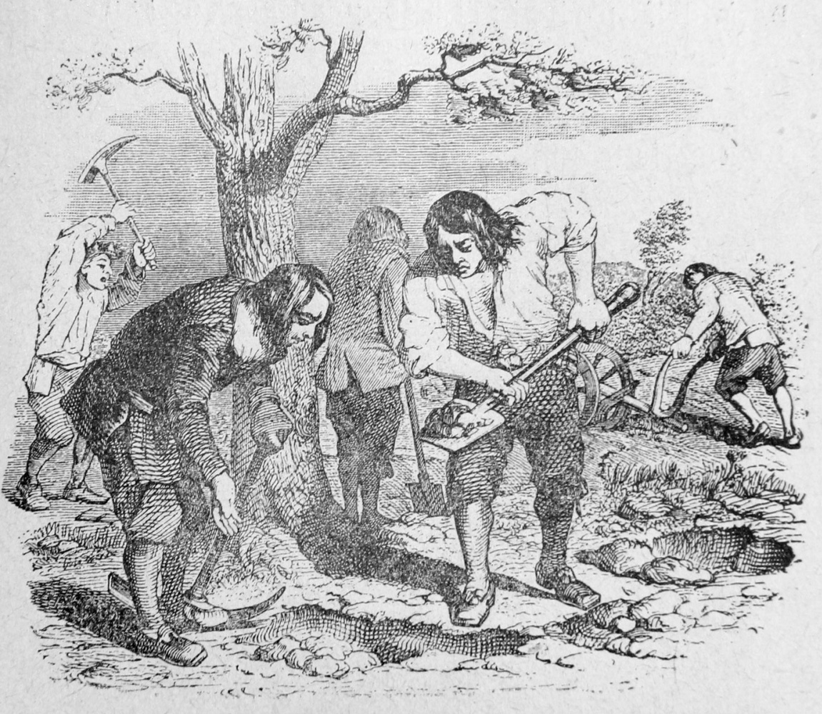 Jean Inias Isidore (Gerard) Granville. Plowman and his sons. Illustrations to the fables of Jean de Lafontaine