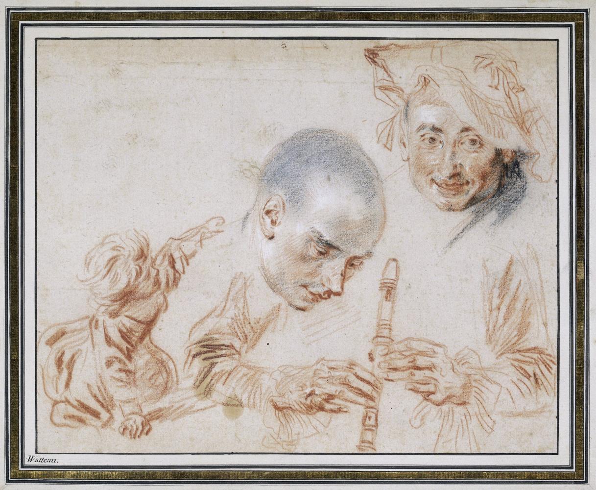 Антуан Ватто. Эскиз ползающего ребенка, двух мужских голов и рук, играющих на флейте