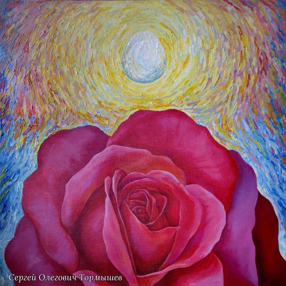 """Sergey Olegovich Tormyshev. """"Egg and rose"""" """"Egg and rose"""", 80Х80 cm. Oil on canvas (2020)"""